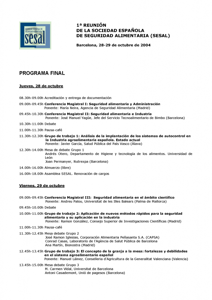 Portada 1 Reunión Anual de la Sociedad Española de Seguridad Alimentaria_2004
