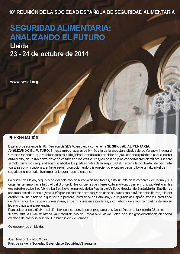 Portada 10 Reunión Anual de la Sociedad Española de Seguridad Alimentaria_2014