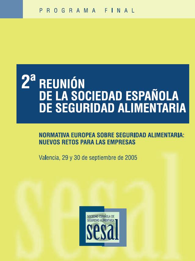 Portada 2 Reunión Anual de la Sociedad Española de Seguridad Alimentaria_2005